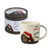 Alex Clark Pawsitively Merry Christmas Dog in Santa Hat Mug in Gift Box
